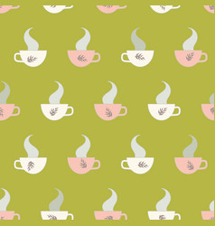 Seamless pattern with hot teacups and steam vector