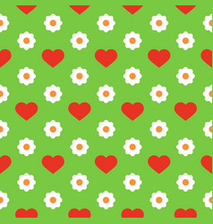 seamless pattern with red hearts and white flowers vector image