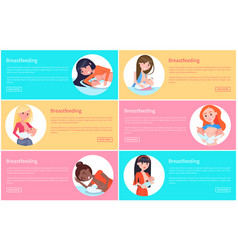 set of breastfeeding posters vector image