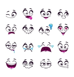 Set of funny cartoon comic faces vector