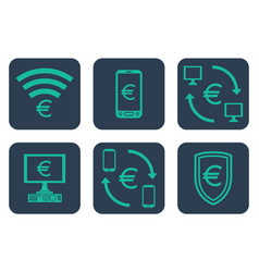 set of icons about online payments with euro vector image