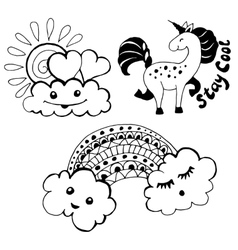 set with funny clouds vector image