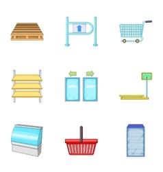 Shop market icons set cartoon style vector image vector image