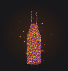 silhouette wine bottle abstract style color vector image