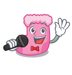 singing sock mascot cartoon style vector image