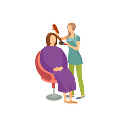 spa salon woman with hair dryer isolated vector image