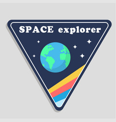space explorer earth triangle frame background vec vector image