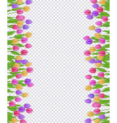 Spring border with colorful tulips with green vector