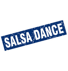square grunge blue salsa dance stamp vector image