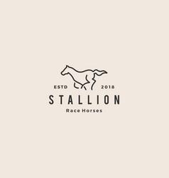 stallion horse running race logo hipster vintage vector image
