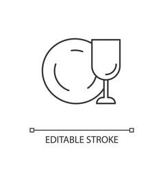 Tableware linear icon vector