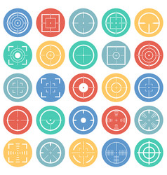 target icon set on color circles white background vector image