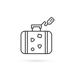 Thin line travel suitcase with tag vector