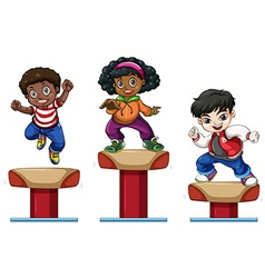 Three children on balance beam vector image