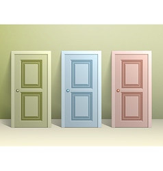 Three doors on the floor vector image vector image