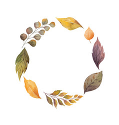Watercolor wreath with autumn leaves and vector