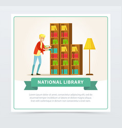 young man choosing books on shelves in library vector image