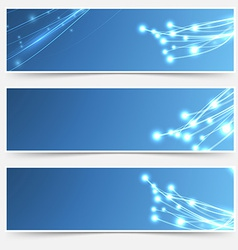 Bright cable sparkle flyer header footer set vector image
