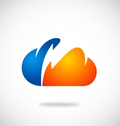 Cloud bolt thunder icon logo vector