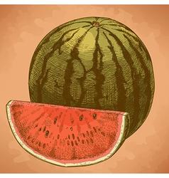 engraving watermelon and slice retro vector image