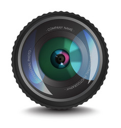 photo lens icon with an optical flare vector image