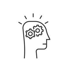 thin line thinking process in black human head vector image