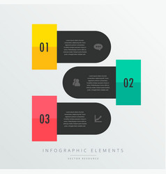 Three steps infographic elements in black theme vector