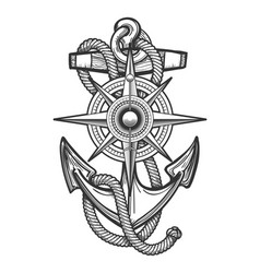 anchor with compass engraving vector image vector image