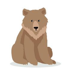 brown bear cartoon in flat design vector image vector image