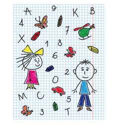 Colouring school kit on notebook sheet vector
