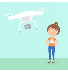 Girl piloted a drone vector image