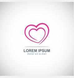 love heart valentine logo vector image vector image