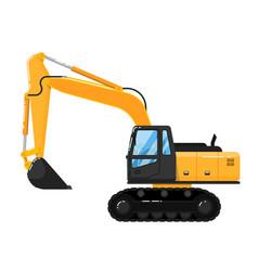 yellow excavator isolated on white background vector image