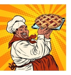 African American or Latino cook with a berry pie vector image