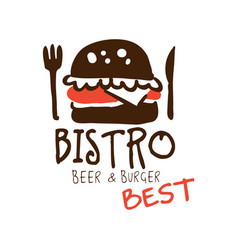 bistro beer and burger logo template hand drawn vector image vector image