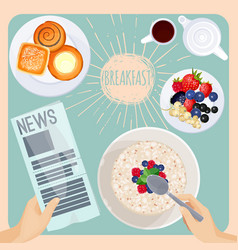breakfast table with food and newspaper vector image vector image
