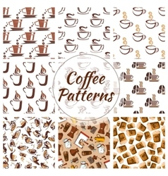 Coffee cups seamless patterns vector image vector image