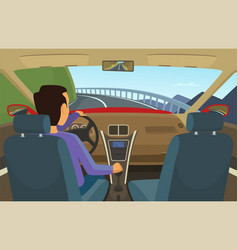driver inside his car in vector image