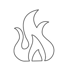fire flame burn hot design line vector image