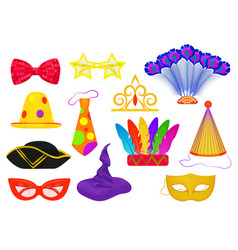 Masquerade carnival thematic party attributes flat vector image