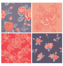 Seamless background Collection - Vintage Flowers vector image vector image