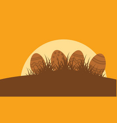 silhouette of easter egg landscape vector image vector image
