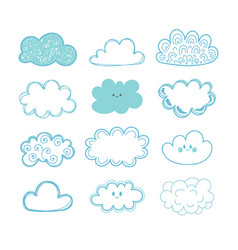 sketch sky doodle collection of hand drawn clouds vector image vector image