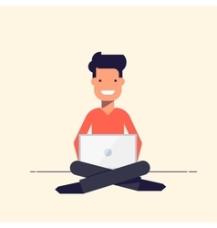 Young people sitting with a laptop Smiling boy or vector image vector image