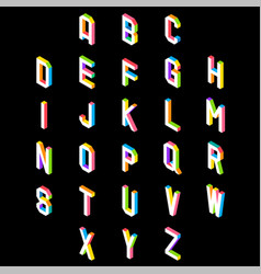 3d colorful font and alphabet vector