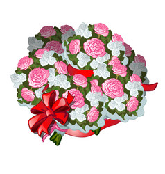 a huge bouquet of flowers tied with red ribbon vector image