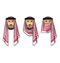 arabian men wearing red scarves vector image