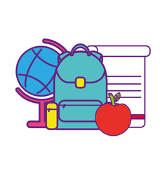 bag school with set icons vector image