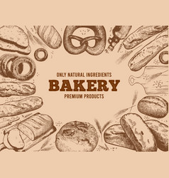 bakery frame french baguette fresh bread and vector image