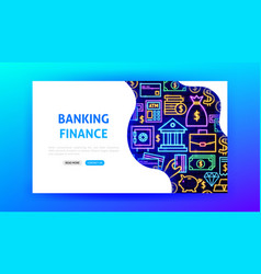 banking neon landing page vector image